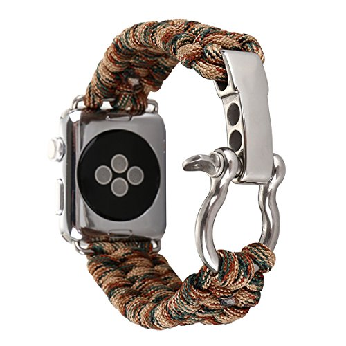 Alotm For Apple Watch Band, 42mm Replacement Apple Watch Band Paracord Watch Band with Rugged Outdoor Survival Stainless Steel Shackle and 550 Paracord (Camouflage Brown, ()