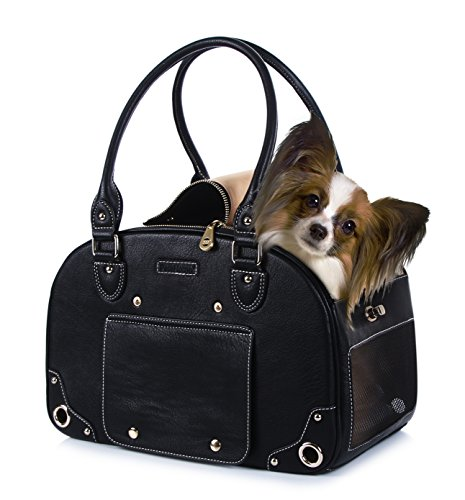 Dog Carrier, Pet Carrier, PetsHome Waterproof Premium Leather Pet Travel Portable Bag Carrier for Cat and Small Dog Home& Outdoor-A Small Black