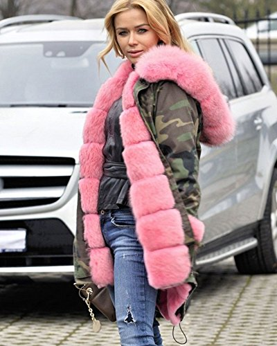 Plus Roiii Pink 8 Jacket Hooded Winter Women Parka 20 Thicken Sleeve Size Long Coat BwqaA