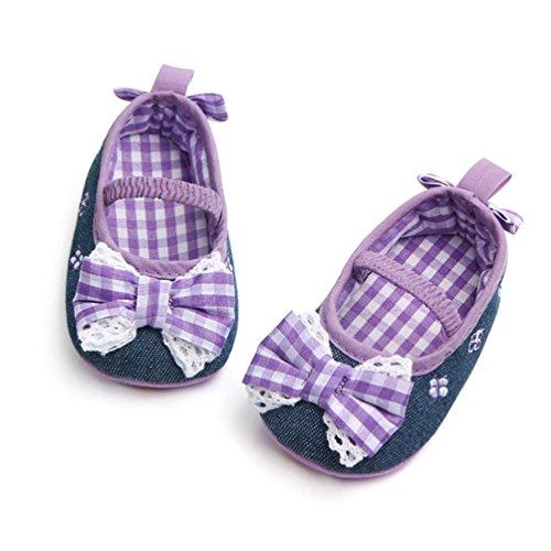 Bowknot Anti Mädchen Plaid Lace Mädchen Rutsch Schuhe Schuhe Neugeborene Baby Lila Jamicy® X48S4