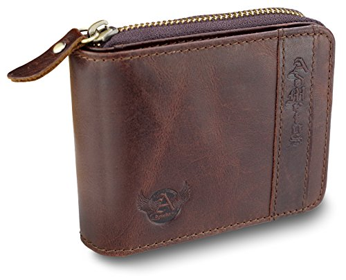 d1ad8cb14050 Admetus Genuine leather Zippered Bifold gifts for men wallet Exquisite gift  box