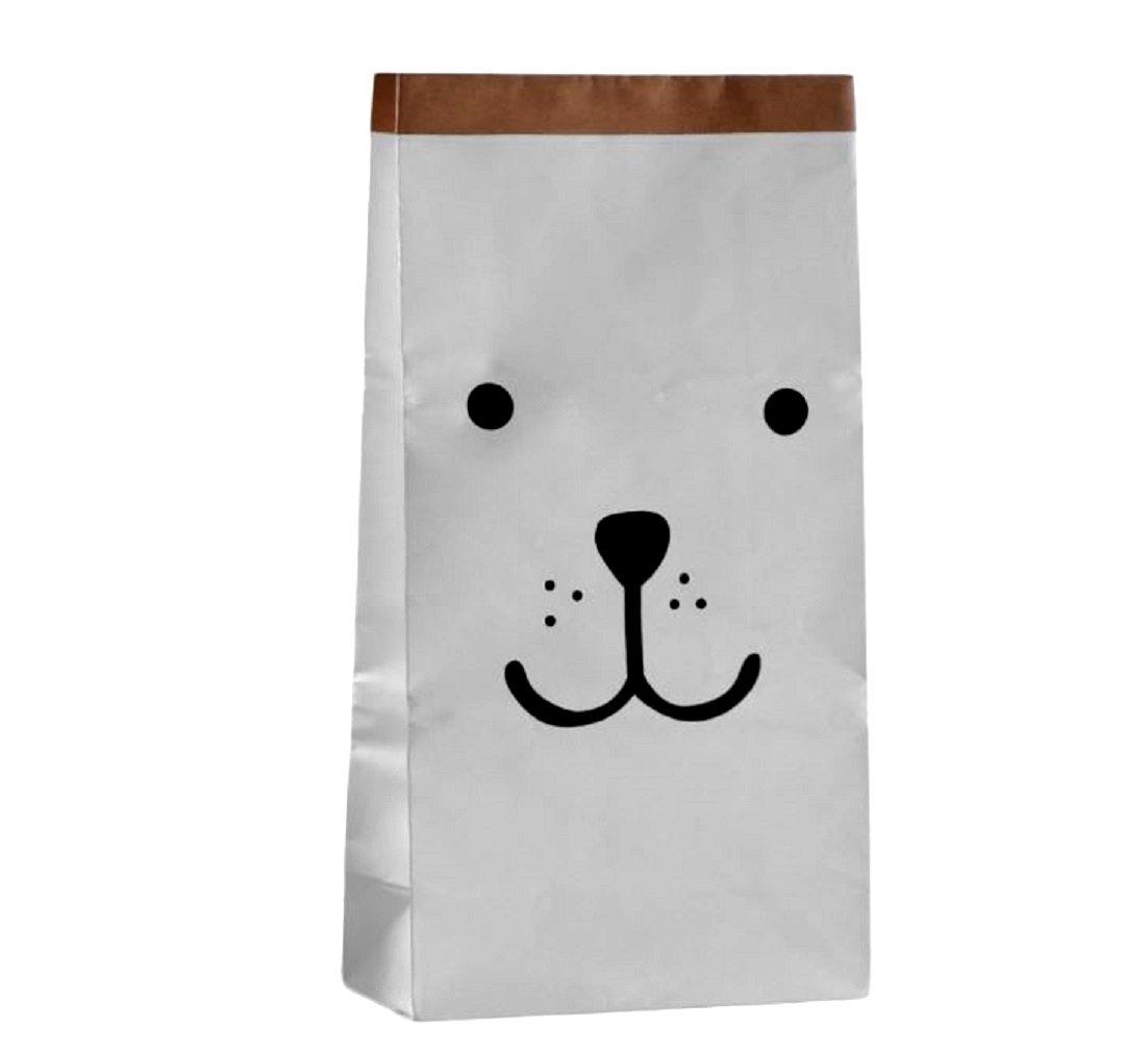 Thick White Craft Paper Smilling Bear Bag Hamper Organizers Storage for Kids Toys, Baby Clothing, Children Books, Gift Bag Bg mini