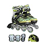 Cougar 733 Speedster Kids Inline Skates and Gear Combo (Mantis Green, Medium)