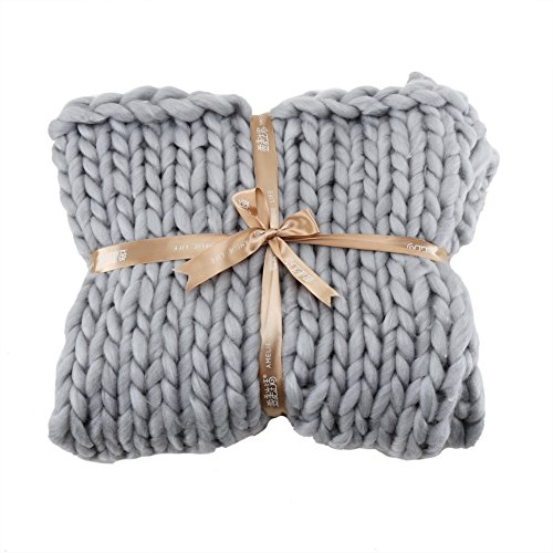 - Handmade Chunky Knitted Woven Blanket, Wingbind Large Soft Throw Blanket for Bed Sofa Office-Gray 80100cm