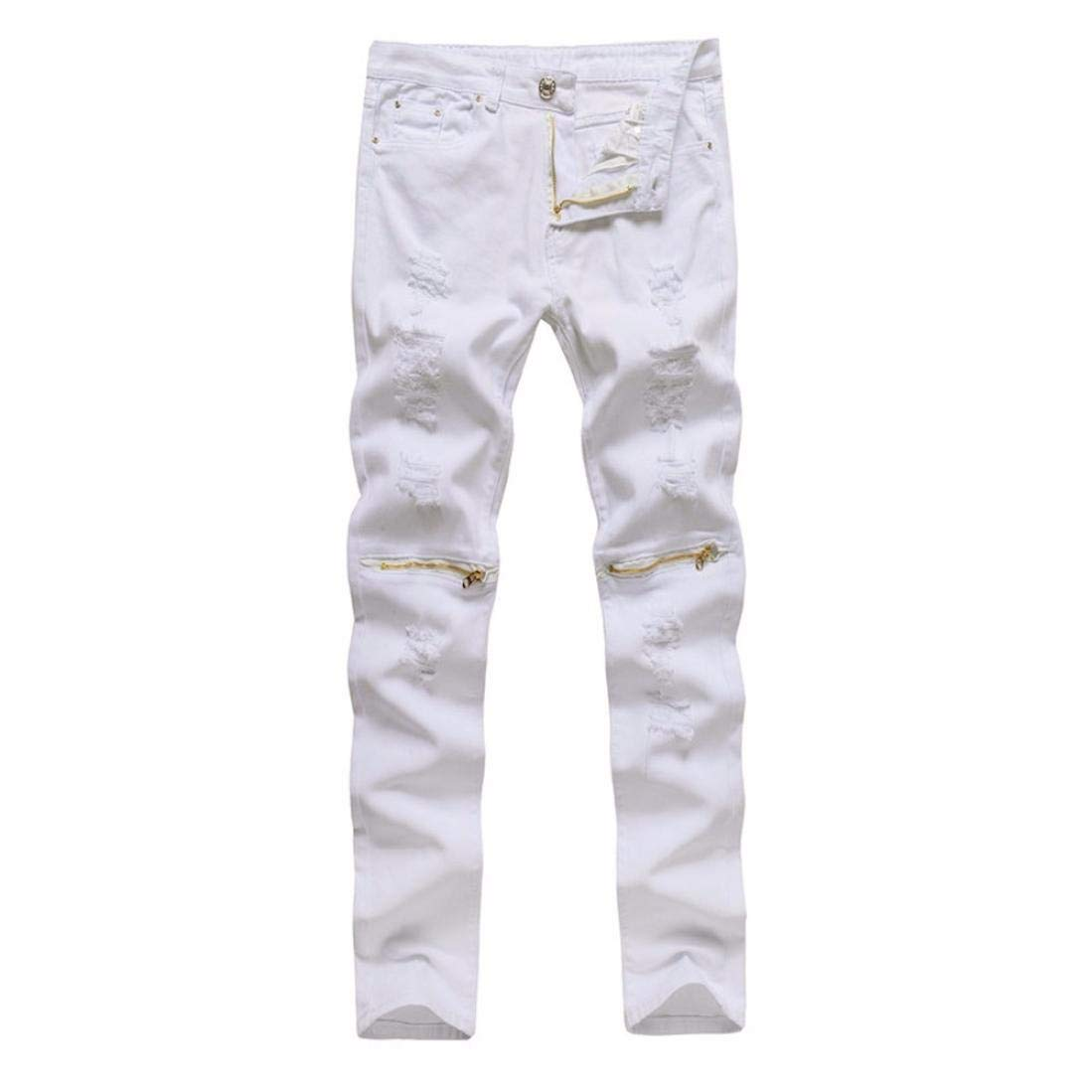 Realdo Clearance Sale, Casual Stretchy Ripped Skinny Jeans Destroyed Solid Slim Fit Pants Daily(30,White)