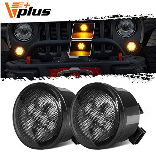Partsam Front LED Turn Signal Light Assembly Amber Compatible with Jeep Wrangler JK 2007-2018 Turn Lamp Fender Flares Eyebrow Indicator Side Maker Parking Lights Smoke Lens (Pair)
