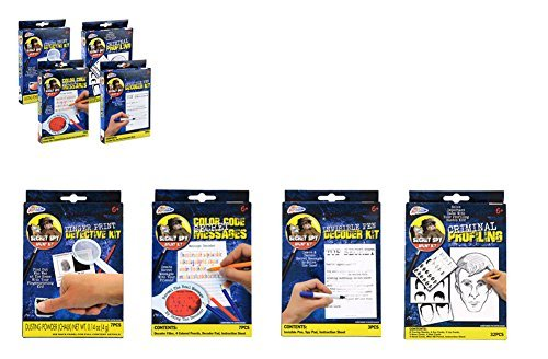 Secret Spy Agent Kits -Invisible Pen Decoder, Color Code Secret Messages, Criminal Profiling & Finger Print Detective Kit (Secret Agent Spy Kit)