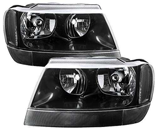 AJP Distributors For Jeep Grand Cherokee Headlights Head Lights Lamps Upgrade Replacement Pair Unit Assembly 1999 2000 2001 2002 2003 2004 99 00 01 02 03 04 (Black Housing Clear Lens Clear Reflector) (Best Jeep Headlight Upgrade)