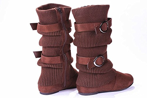 Jjf Chaussures N060 Brun Chaud Slouch Chandail-brassard Double Boucle Zipper Mi-mollet Bottes-6.5