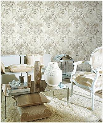 Haokhome 79601 Vintage Glitter Damask Wallpaper Off White Grey