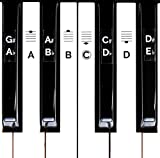 Deluxe Piano Keyboard Note Stickers for 49 / 61 / 76 / 88 Keys- Removable- For White and Black Keys, Includes Note Position on Grand Staff