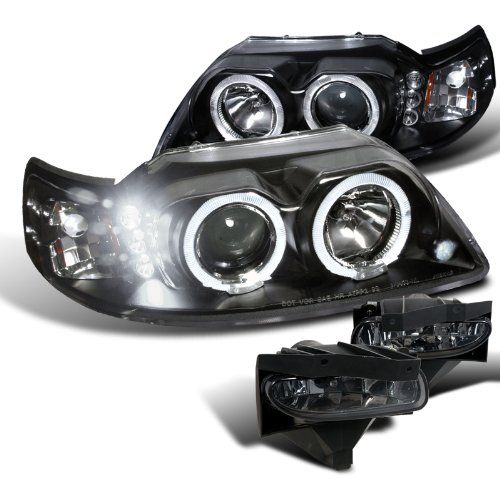 Ford Mustang Black Dual Hal LED Projector Headlights+Smoke Fog Lamps