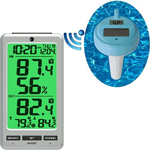 Ambient Weather WS-01T-F007PF-24C Wireless 8-Channel Floating Pool and Spa Thermometer with Color Changing Night Light