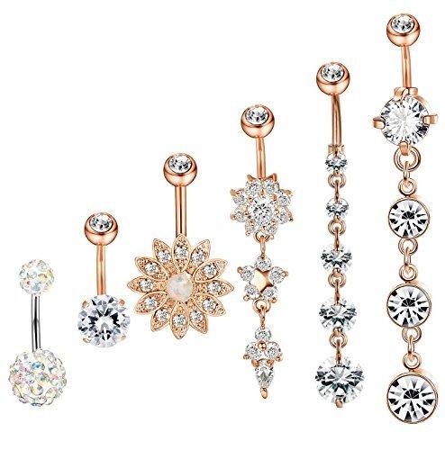 (Thunaraz 5-6Pcs Stainless Steel Belly Button Rings for Women Body Jewelry Set Dangle Navel Rings 14G (C:5Pcs Rose Gold Tone+1Pcs AB)