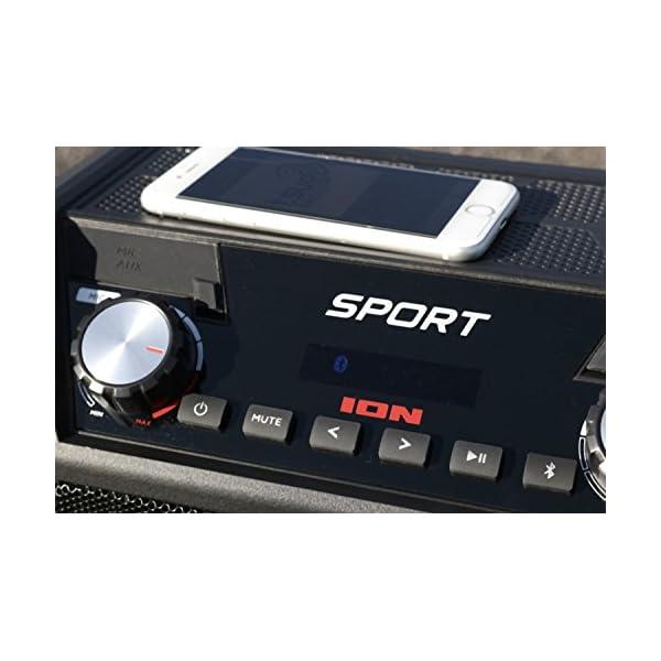 ION Audio Sport - Enceinte 50 W Résistant à l'Eau, avec Batterie Rechargeable Longue Durée, Étanchéité IPX4, Bluetooth, Port USB de Charge, Entrée Aux et Microphone Haute-Définition 7
