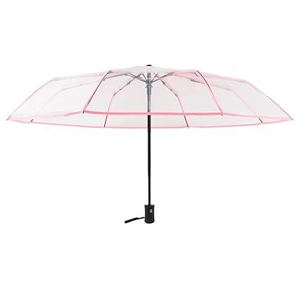 Kentop Paraguas Transparente Plegable automático Paraguas automático con botón, Rosa, 23 * 5cm