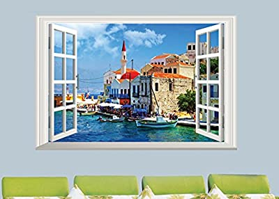 """Homefind (23""""w x 16""""h) 3D Window View of Italy Terre Cinque Scenery Wall Stickers Living Room Bedroom Wall Decals Peel & Stick Removable Girls Room Nursery Wall Stickers Decoartion"""