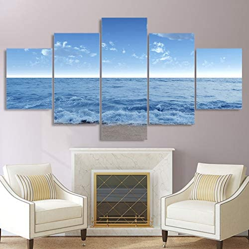 WSJXY 5 Canvas Paintings Wall Art Framed HD Print 5 Piece Canvas Painting sea Level Seascape Waves Posters Wall Picture