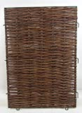 Woven Willow Hurdle Panel Gate, iron rod framed. 34'' W
