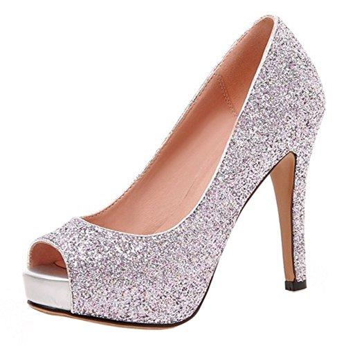 COOLCEPT Mujer Moda Sin Cordones Tacon de Aguja Bombas Zapatos Peep Toe Shiny Glitter Sandalias Rosado