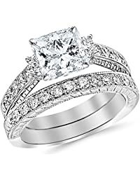 1.53 Ctw 14K White Gold GIA Certified Princess Cut Three Stone Vintage With Milgrain & Filigree Bridal Set with Wedding Band & Diamond Engagement Ring, 0.5 Ct I-J VVS1-VVS2 Center