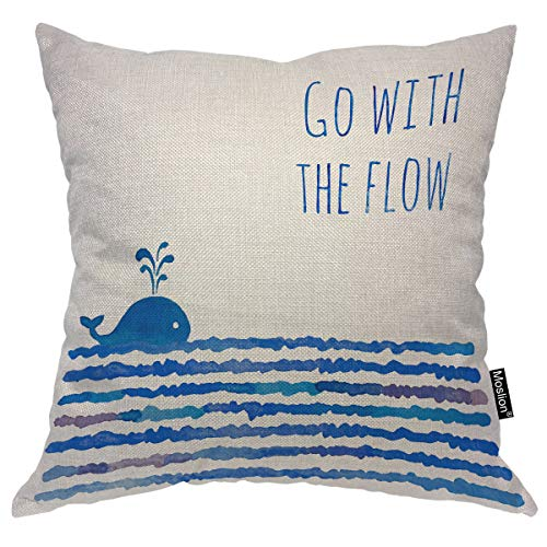 Moslion Ocean Pillows Decorative Pillow Case Sea Animal Fish Whale in Waves Inspirational Quote Go with The Flow Throw Pillow Cover Square Cushion Accent Cotton Linen Home 18x18 Inch Blue