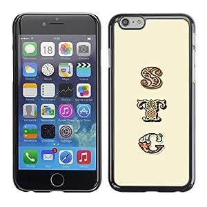 Sty texto Modelo amarillo Iniciales Patrón- Metal de aluminio y de plástico duro Caja del teléfono - Negro - iPhone 6