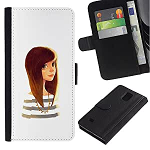 Paccase / Billetera de Cuero Caso del tirón Titular de la tarjeta Carcasa Funda para - smart cute girl white golden brown hair - Samsung Galaxy Note 4 SM-N910