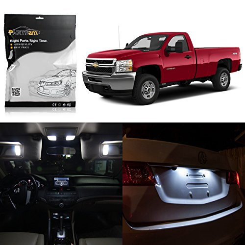 Partsam LED Interior Lights Light Package Kit Interior Bulbs fit for 2007-2013 Chevrolet Silverado-12Pcs White