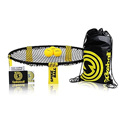 spikeball 3 ball sports game set outdoor indoor gift for teens family yard lawn beach tailgate includes playing net 3 balls drawstring bag