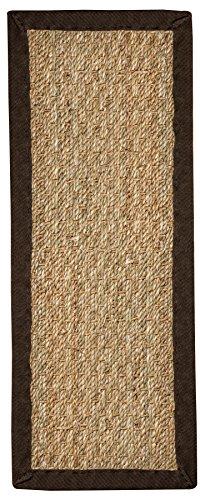 "Natural Area Rugs 100% Natural Fiber Half Panama, Seagrass Sage, Handmade Stair Treads Carpet Set of 13 (9""x29"") Espresso Border"