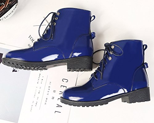 de 43 EU Mujer Botas Militares Charol HiTime Azul Talla Color 1PEfw8
