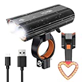 Victagen USB Rechargeable Bike Light Sets, Rechargeable Super Bright 2400 Lumens Front Light With Rechargeable Bike Tail Light, Helmet Light, Waterproof Bike Headlamp, Easy Mount Remove And Rotatable