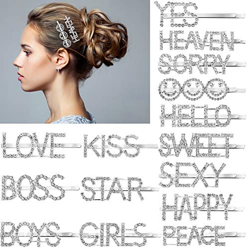 15 Pieces Words Letter Hair Pins Glitter Rhinestone Hair Clips Straight Letter Hair Pins Barrettes for Women Ladies Girls (Pattern 1)