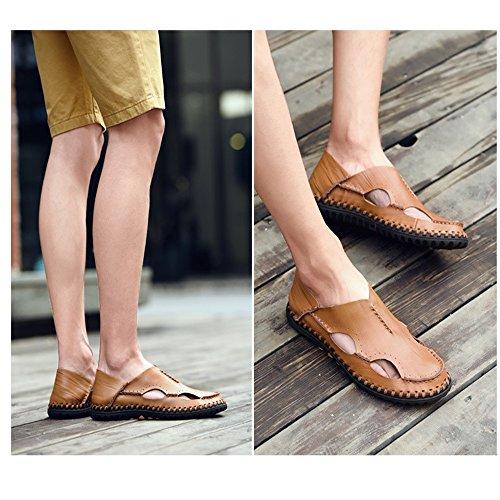 ciabattine 1 in traspiranti da Dark traspiranti Light Brown pelle brown regolabili 3 sandali EU uomo estive 41 sandali Sandali Size Color E48qwaw