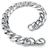 Best Adisaer Mens Bracelets - Adisaer Womens Mens Stainless Steel Bracelet Silver 8.5 Review