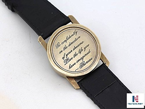 NAUTICALMART Wrist Watch Sundial Cuff with Thoreau's Go Confidently Quote by NAUTICALMART