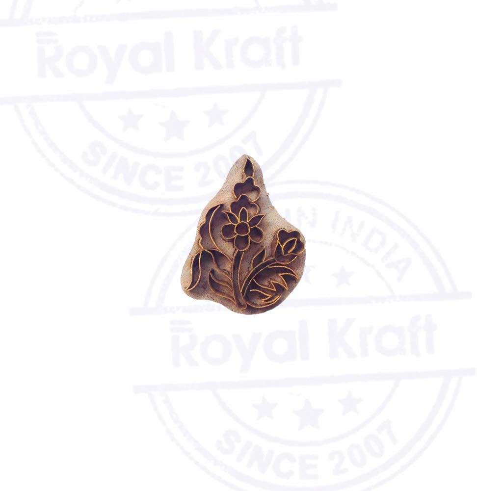 Handmade Wooden Block Brass Plant Designs Clay Printing Stamp