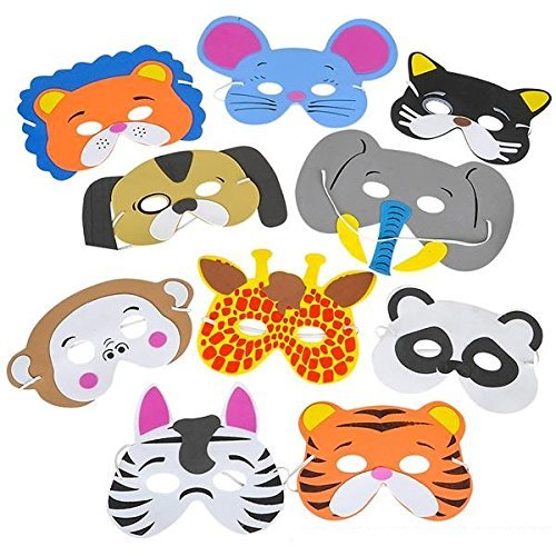 Animal Mask-12 Assorted Foam Funny Animal Mask - For Kids & All Ages, Party, Halloween, Dress-Up, Prop, Costume With Elastic Strap