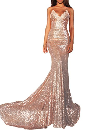 Women's Spaghetti Strap Prom Dress Long 2018 Mermaid Sequins Evening Formal Gowns 218 Rose Gold 02