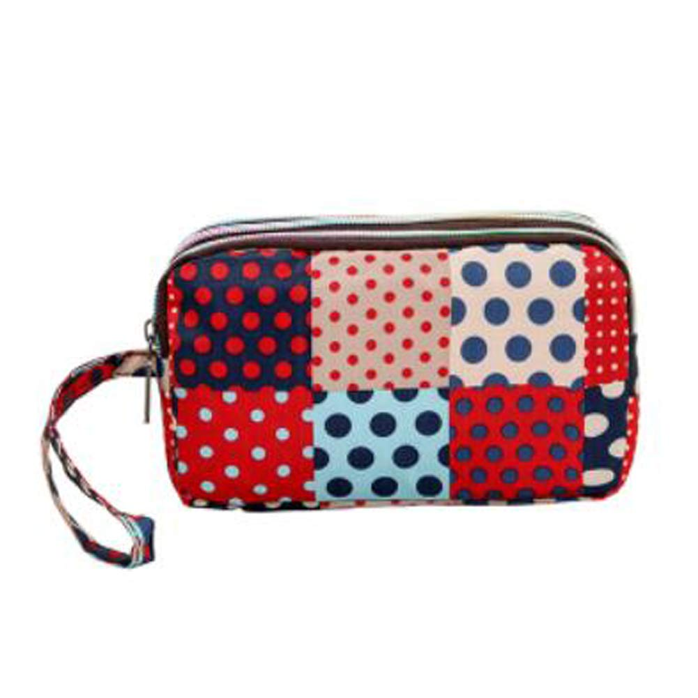 Ladies Fashion Small Card Case Wallet Change Coin Purse Pouch Bag with Zipper, Patchwork