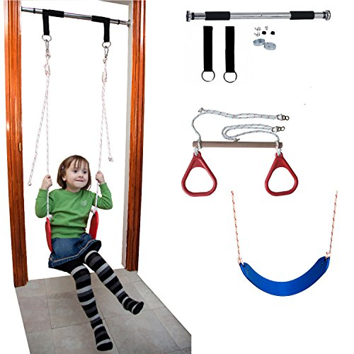 Kids Indoor Gym (DreamGYM Doorway Gym and Indoor Swing for Children Includes Chin Up Bar, Trapeze Bar & Gym Rings Combo, and Rope)
