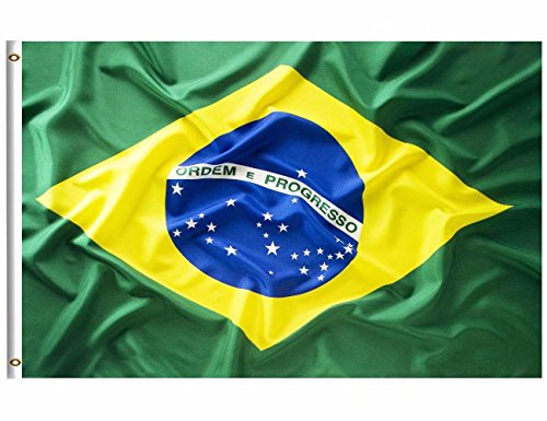 DFLIVE Brazil Flag 3x5 ft Printed Polyester Fly Brazilian National Flag Banner with Brass Grommets