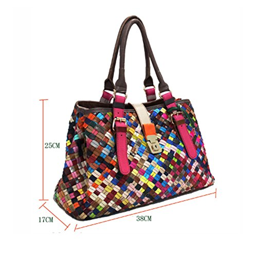 Ladies Lattice Shopper Genuine Large Tote Yjiujiu Crossbody Shoulder color Multi Capacity Leather Satchel Handbags Multicolour Bag Stitching Bag dxqBB7fZ5w