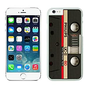 Iphone 6 Case 4.7 Inches, Audio Cassette Best Design White Hard Back Cover Case for Apple Iphone 6