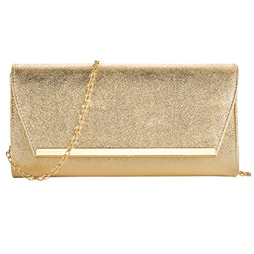 Clutch Gold Evening - Women Evening Party Clutch Bags Handbag Bridal Wedding Purse (GOLD C)