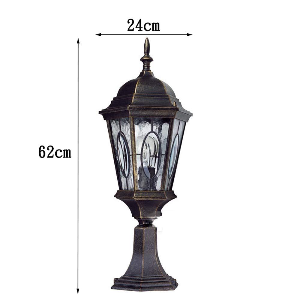Wapipey Retro Vintage Traditional Column Light Waterproof Outdoor Pillar Light Fence European Villa Garden Lantern Courtyard Landscape Lighting Fixture E27 by Wapipey (Image #4)