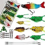 Funzhan Fishing Bass Lures Kit Set Baits Tackle Worms Grub Tails Spoons Minnow Crankbait Snap Swivels Jig Head