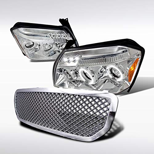 Autozensation For Dodge Magnum Chrome Dual Halo LED Projector Headlights+Mesh Hood Grill ()