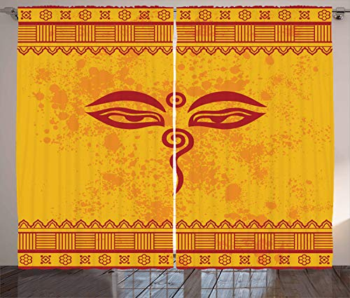 Ambesonne Ethnic Curtains, Spiritual Eyes of Religious Figure Asian Tibetan Style Henna Design Borders, Living Room Bedroom Window Drapes 2 Panel Set, 108 X 84 Inches, Paprika Yellow Red